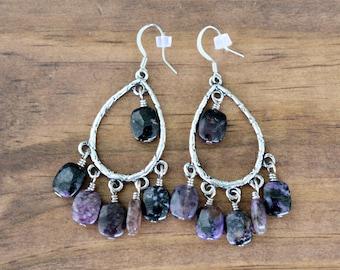 Charoite Chandelier Earrings, Charoite Earrings, Dangle Earrings, Purple Earrings, Boho Earrings, Gift for her