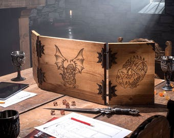 Wooden Dungeon Master Screen, RPG Games, Table Top Games, Dungeons and Dragons, Beholder, Screen, Dice Games, Dragon Screen, Pathfinder