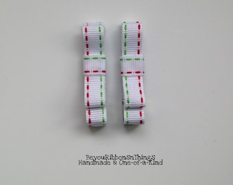 Awesome Holiday Stitches | Hair Clips for Girls |Toddler Barrette | Kids Hair Accessories | Grosgrain Ribbon | No Slip Grip | Christmas