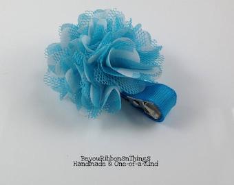 "Mini Satin Mesh 2"" | Blue Flowers | Hair Clips for Girls | Toddler Barrette | Kids Hair Accessories | Blue Grosgrain Ribbon | No Slip Grip"