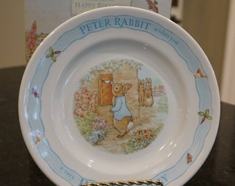 1996 Wedgwood Peter Rabbit Wishes You A Happy Birthday/ Beatrix Potter/  Birthday Gift/ Baby Shower Gift/ Nursery Decor