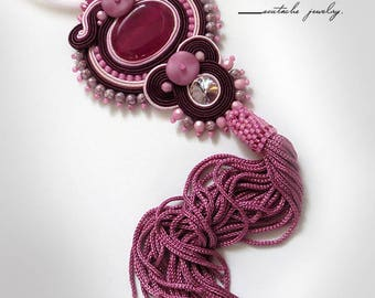 Pink soutache necklace burgundy pink ruby tassel necklace soutache OOAK gemstone necklace boho stone pendant pink stone necklace