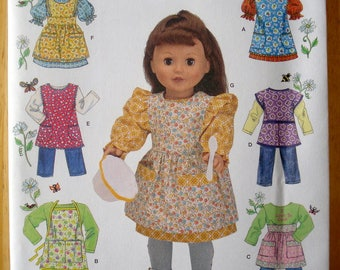 """Simplicity 2761 18"""" Doll Clothes and Aprons by Elaine Heigl Uncut"""