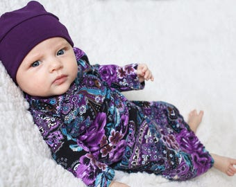 Pandora Paisley Baby Gown, Coming Home Gown, Newborn Outfit, Baby Shower Gift, Baby Girl, Baby Layette