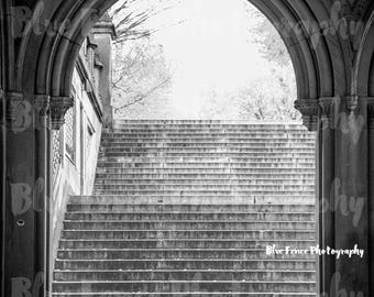 Central Park Photography, Bethesda Steps, Archway, Black and White, New York, NYC, Art Print, Home, Wall Decor, Street Photography