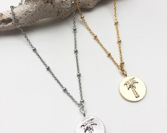 Chain and silver plated Palm tree pendant necklace