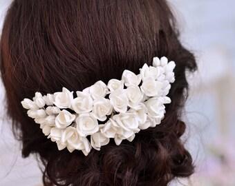 White flower hair comb Wedding hair comb Floral hair comb Flower hair clip Wedding hairpiece Flower headpiece Bridal hair piece Flower comb