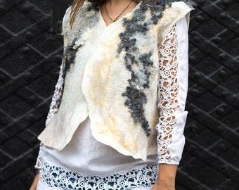 Womens felted vest, Womens wool vest, Felt wool vest, Felted vest, Bohemian vest, Eco friendly vest, wool curls, womens wool vest