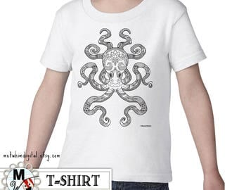 Color Me Octopus Kid's Shirt - Cool Shirt with Black & White Zen Octopus Illustration - Nautical Art on Toddler T-Shirt - Cephalopod Shirt