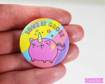 Palentines Badge, Palentines Gift, Funny Valentine Unicorn Badge, Valentine's Unicorn Pin, Unicorn Valentine Gift, Love is Gross