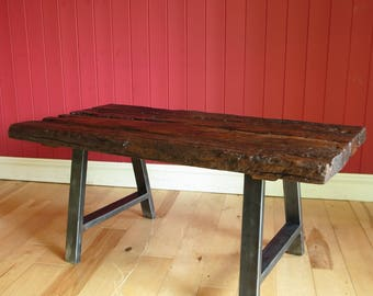 Rustic Industrial Coffee Table Reclaimed Wood Furniture