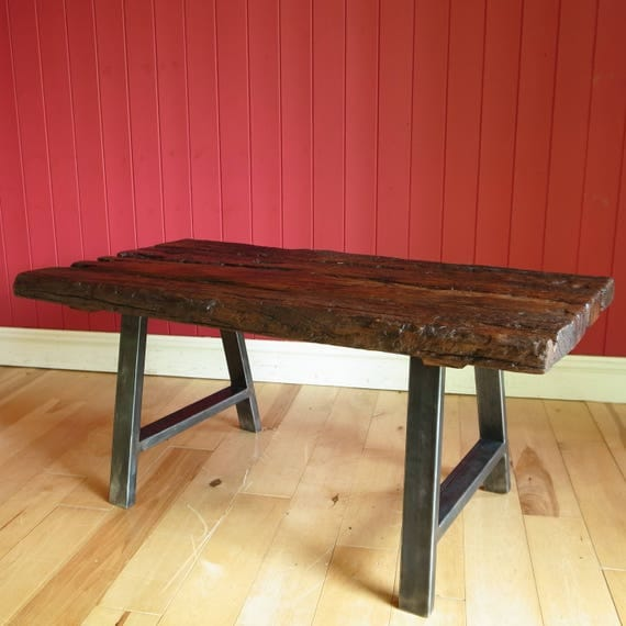 Rustic Industrial Coffee Table Reclaimed Wooden Plank Furniture