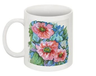 Cara Mia Blooms Ceramic Mug, Wrap Around Floral Watercolor Design, 11 ounce, Office Mug