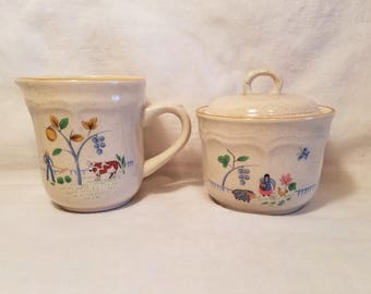 HEARTLAND CREAMER SUGAR Bowl Pitcher International China Taiwan Vintage Kitchen Farmhouse Cottage Chic 1980s