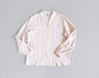 vintage pale pink silk blouse / blush button down shirt / 90s long sleeve silk top / womens L