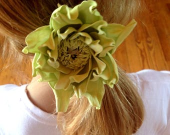Light green hair clip green-yellow hair flower for ma green Gift Ideas everyday jewelry Floral Hair Summer Jewelry green hair tie Scrunchy