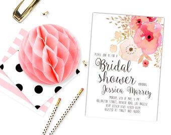 burgund navy gold floral bridal dusche einladung druckbare, Einladung