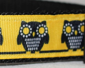 "Cute Owls on Yellow Dog Collar - Choose Side Release Buckle or Martingale  (1"" Width) - Martingale Option Available"