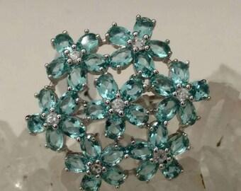 Gorgeous Blue Topaz Ring Size 9 1/2