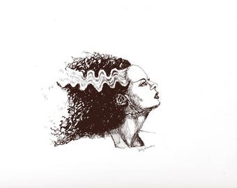 The Bride of Frankenstein Original Ink Drawing; Classic Horror; Classic Monsters