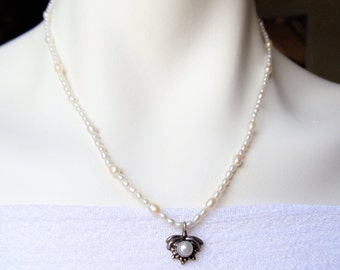 Vintage Pearls 925 Sterling Necklace, Sterling Pearl Floral Pendant & Fresh Water Pearls Necklace, White Pearls Gemstone Sterling Necklace