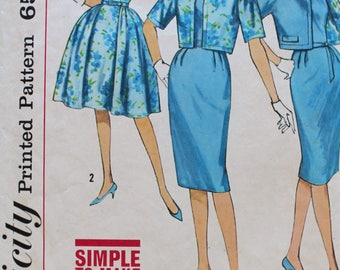 1960s Dress Pattern - Vintage Simplicity 4360 Sewing Pattern - Bust 34