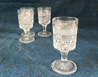 Vintage Anchor Hocking Wexford Glass Cordials, Set of 4, Mid Century Barware