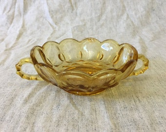 Anchor Hocking Fairfield Amber Glass Double Handled Nappy Bowl, Fairfield Amber Glass Candy Dish