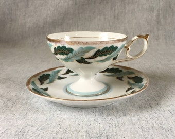 Vintage Porcelain Tea Cup and Saucer, Mint Green Leaves with Gold Trim