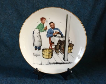Vintage Gorham Norman Rockwell 1979 Collectors Plate, Summer Swatters Rights, Four Seasons Series