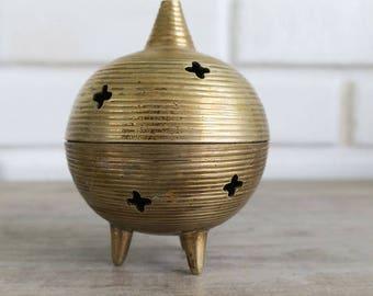 Vintage Brass Incense Burner, Vintage Brass Incense Holder, Mid Century Brass Trinket Holder, MIdcentury Incense burner