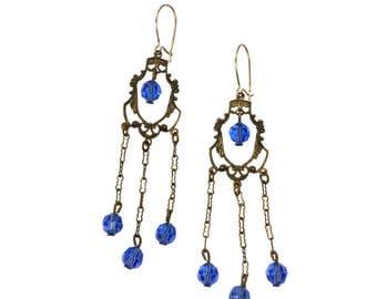 Victorian Blue Glass Chandelier Earrings   Antique Earrings   Victorian Jewelry   Chandelier Earrings   French Hook Earrings   Blue Jewelry