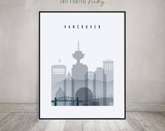 Vancouver poster, art print, Wall art, Vancouver skyline Canada cityscape City poster Typography art Home Decor Digital Print ArtPrintsVicky