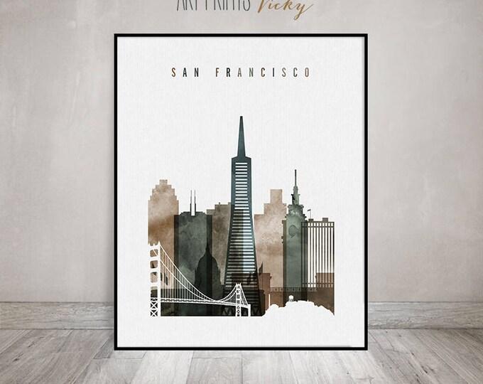 San Francisco art print, watercolor poster, Wall art, Travel, San Francisco skyline, city art, Wall Decor, Gift, ArtPrintsVicky