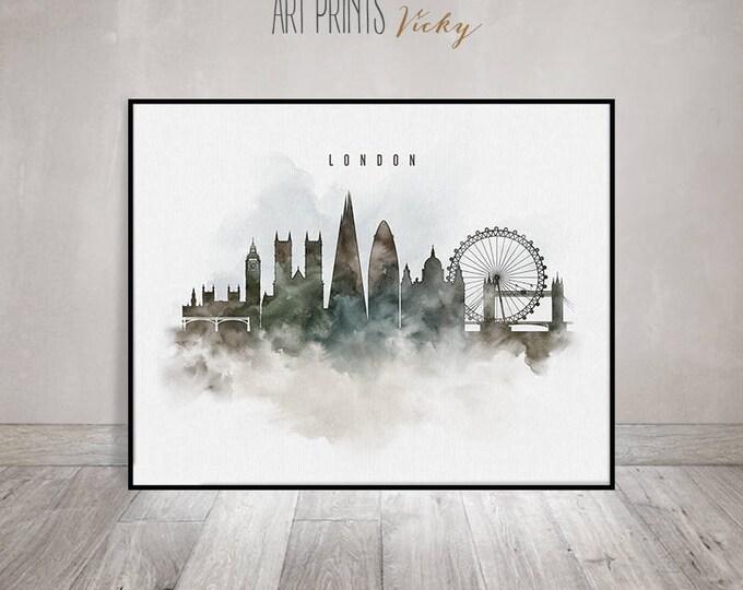London wall art print, London poster, London watercolour print, city print, typography art, gift, travel, home decor, ArtPrintsVicky.