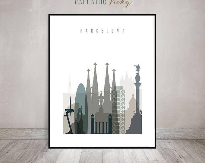 Barcelona poster, Barcelona wall art, Barcelona skyline art print, Travel decor, housewarming gift, Travel gift, Home Decor, ArtPrintsVicky