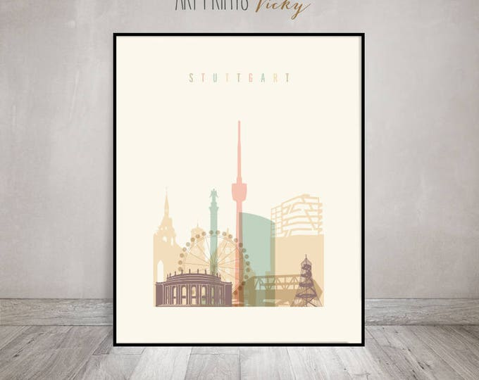 Stuttgart art print, poster, Stuttgart skyline, Wall art, Travel gift, Germany cityscape, wall decor, housewarming gift, ArtPrintsVicky