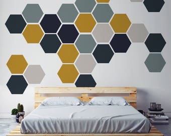 Removable Honeycomb Wall Decal, 8 Hexagon Stickers per pack, Self Adhesive Canvas Art Sticker, Geometric Design