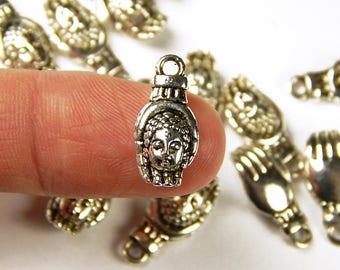 10 Pcs - 18x10mm Buddha Head Charms - Buddha In Palm - Yoga Charms - Silver Charms - Jewelry Supplies