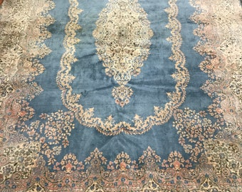 10' x 14' Antique Persian Kerman Oriental Rug - 1940s - Hand Made - 100% Wool
