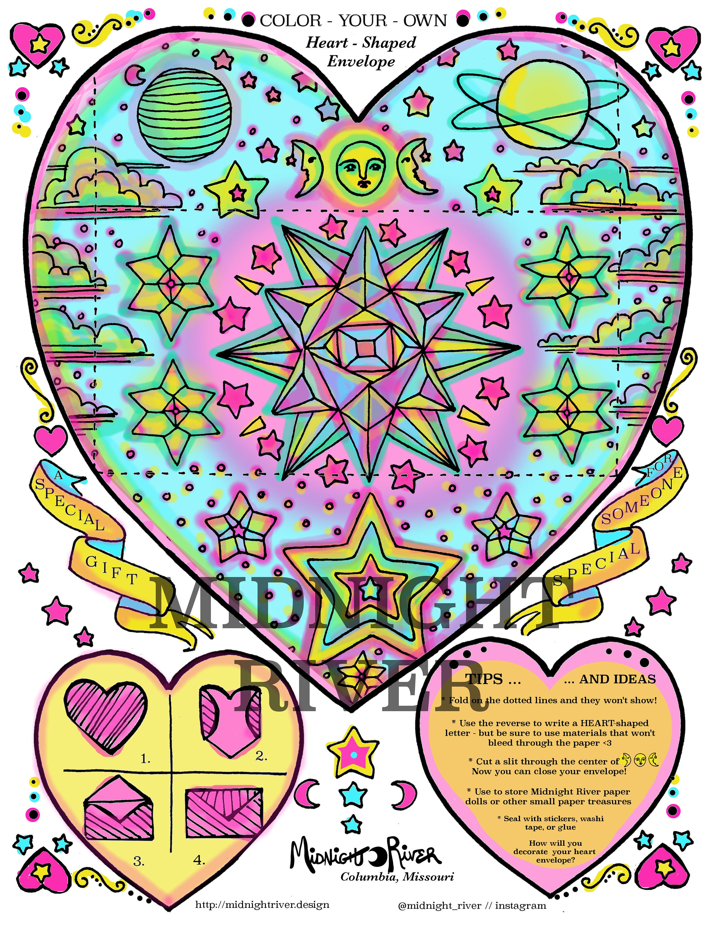 Printable Magic Envelope // Rainbow Heart, Stars, Moon // Color Template PDF