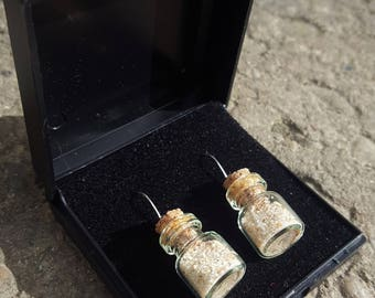Highlands of Scotland beach sand in a bottle earrings