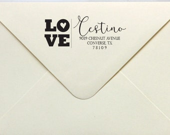 Love Heart - Return Address Stamp, Rubber Stamp or Self Inking Stamp