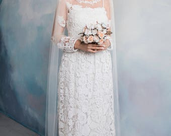 Classic ankle length cathedral veil, ivory veil, white veil, wedding veil