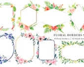Floral Borders Set, Handpainted Watercolor Clipart, Digital Clip Art, DIY Design, Border Template Vector PNG, Watercolour Flowers Wedding