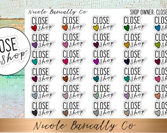 Shop Owner- Close Shop Planner Stickers