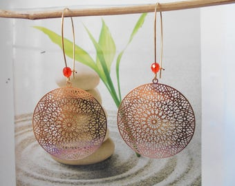 Earrings dream catcher orange bead