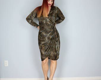 1980s Dress - Leopard Animal Print Dress - Faux Wrap Dress - Super Sexy - Long Sleeve - Gathered Waist - V-neck Size Medium