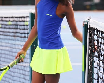 Tennis Dress Daria RacerBack Neon for Girls | Girls Tennis Clothes | Junior Tennis Apparel