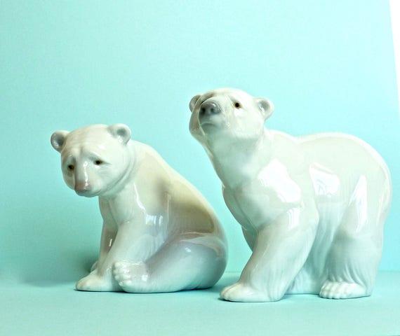 LLADRO POLAR BEARS ~ Pair of Polar Bears ~ Hand Made In Spain ~ Standing and Seated Polar Bears ~ Glazed Porcelain
